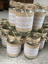 10 x Glass Jars - Vases - Vintage - Wedding Centrepiece Shabby Chic Hessian Lace