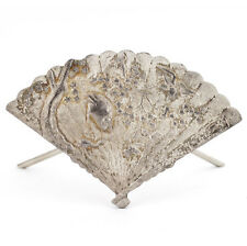 Vintage Asian 925 Silver Handmade Fan Motif Table Top Business Cards Holder