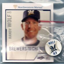 """RANDY WOLF MILWAUKEE BREWERS PITCHER - 1"""" ROUND COLLECTOR #43 PIN & CARD - NEW"""