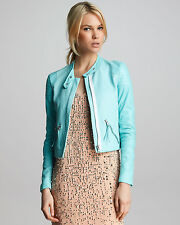New Womens Rebecca Taylor Blue Snake embossed Leather Jacket size 8 10 $999