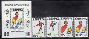 Liberia B31-34A Soccer Mint NH