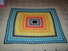 Handmade Afghan, size 62 X 64 bright colors, square pattern