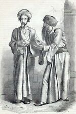 Antique print portrait jew jews Jerusalem Israel 1860