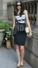 ZARA BLACK PEPLUM FAUX LEATHER PENCIL SKIRT SIZE S SMALL