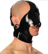 Latex gummi black rubber headgear cosplay party club fashion casual hood 0.4mm