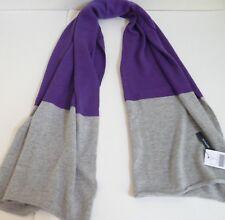 Magaschoni Colorblocked Cashmere Scarf Deep Violet Melange/Gray Melange NWT