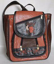 Vintage Leather Embroidered Ladies Carry Bag Zipped Straps Black Orange