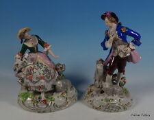 Sitzendorf Porcellana Coppia di Bocage dettagliate Figure Pastore & pastora