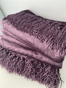 Laura Ashley Grape Chenille Beaded Fringed Throw