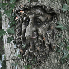 Man Of Forest GreenMan Tree Face Leaf Plaque Wall Garden Ornament New