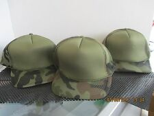 LOT OF 3-FULL PUFFY CAPS/HATS-5 PANEL-OD GREEN FRONT-WOODLAND CAMO-COBRA[3017