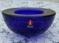 iittala Cobalt Blue Glass Tealight Candle Holder With Original Sticker.  MINT