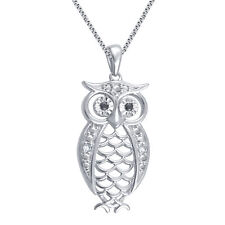 """Owl Necklace with Diamond Accents in White Gold Plated Brass  1"""""""