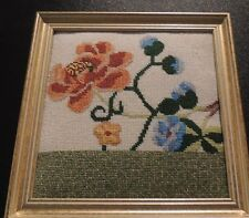 Completed Needlepoint Framed Flowers Abstract