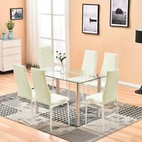 Glass Dinning Table with 6 Leather Chairs Kitchen Modern Furniture White