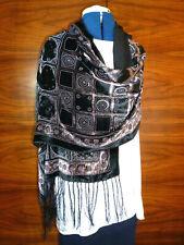 Velvet devore/burnout velvet shawl  Brown/black square print on black  NEW