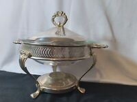 Vintage 3 Piece Silver Plated Chafing Dish With 2 Qt Pyrex Bowl
