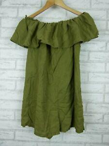 Zara Off Shoulder Playsuit Green Premium Denim Collection Sz S, 10