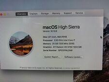 """Apple iMac 27"""" Core i7 Quad-Core 2.93GHz 500GB SSDHD MC784LLA Grade A 2010"""