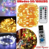 50/100 LED USB Copper Wire Fairy String Lights X'mas Tree Party Decor w/Remote