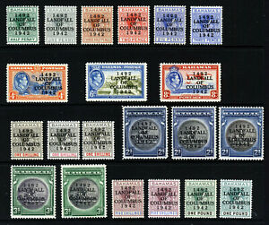 BAHAMAS KG VI 1942 Landfall of Columbus Set + VARIETIES SG 162 to SG 175a MINT