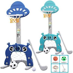 Kids Basketball Set Golf Football Nets Ring Hoop Kids Child Adjustable Play Gift