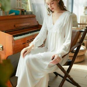 Victorian Women Sexy Nightdress  Long Sleeve Cotton Vintage Pyjamas sleepwear