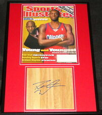Darius Miles Signed Framed Floorboard & Sports Illustrated Display Clippers