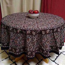 Handmade Dabu Floral Block Print 100% Cotton Tablecloth 72 Inch Round Earth Gray