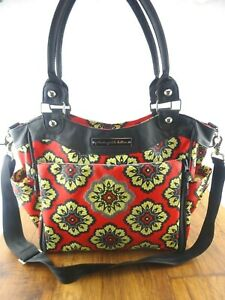 RARE Petunia Pickle Bottom City Carryall Diaper Bag Lively Lima Red/Black Floral