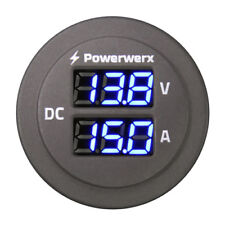 Powerwerx Panel Mount Combo Amp & Volt Meter for 12/24V Systems PanelAmp