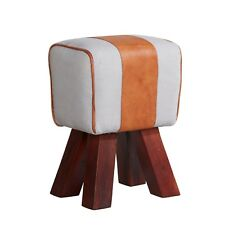 Canvas and Leather Stool With Solid Wood Frame PK30