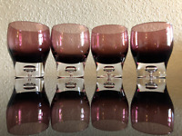 New Heavy Premium Weighted Purple Violet Drinking Whiskey Glasses Set of 4