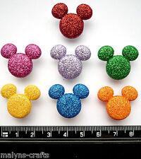 Disney GLITTER MICKEY HEADS Craft Buttons 1ST CLASS POST Mouse Christmas Minnie