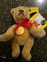 "STEIFF MINIATURE Mohair JOINTED BEAR Tan teddy 5""  tags and pin"