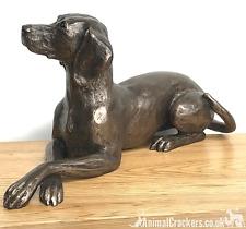 More details for genuine heavy cold cast bronze weimaraner ornament figurine by harriet glen