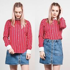 RALPH LAUREN RED STRIPED CONTRAST COLLAR SHIRT BLOUSE CASUAL PATTERNED WORK 10