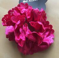 A Bright Pink Satin Scalloped Ruffle Scrunchie Ponytail Band / Bobble
