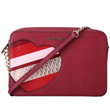 Michael Kors HEARTS Leather Purse in Cherry 100% Genuine