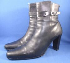 COACH Dress High Heels Leather Ankle Boots Women Size 10 M Black Made In Italy