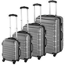 Set de 4 valises de voyage coque ABS léger rigide bagages valise trolley argent