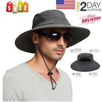 Mens Waterproof Sun Hat, Outdoor Sun Protection Bucket Safari Cap CampN