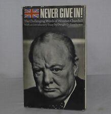Never Give In - Winston Churchill -Hallmark Hardcover DJ - 1967 USA
