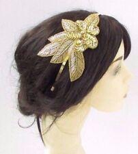 Gold Sequin Rose Headpiece 1920s Headband Fascinator Races Great Gatsby Vtg  4266 a9377b1a0fc