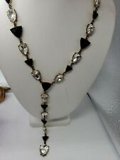 GUESS necklace Gold Tone Rhinestone Chain Necklace  black silver