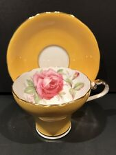 Aynsley Bone China Pink Cabbage Rose Corset Cup & Saucer YELLOW