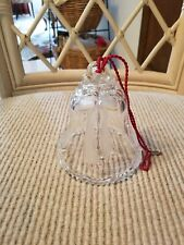 Crystal Christmas Bell, 4.5 inches tall, with ribbons and holly