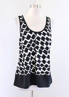 Derek Lam 10 Crosby Black White Printed Silk Strappy Tank Top Blouse Size 4