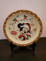 """Vintage Mickey Mouse Plastic Child's Plate Old and Rare Holiday Themed 8 1/4"""""""