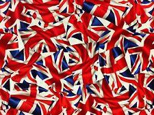 RPG444 Union Jack British Flag UK Trompe L'oiel Retro Cotton Quilting Fabric